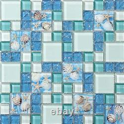 Hominter 11-Sheets Blue Ice Crack Glass Tile, White and Teal Bathroom Wall Beach