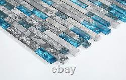 Hominter 11-Sheets Glass Stone Backsplash Tile, Polished Gray and Teal Blue Wall