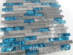 Hominter 11-Sheets Gray Marble Backsplash Wall Tiles, Teal Blue Glass
