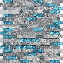 Hominter 11-Sheets Gray Marble Backsplash Wall Tiles, Teal Blue Glass Bathroom