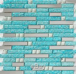 Hominter 11-Sheets Teal Blue Glass Backsplash Tiles, Cyan Bathroom Wall Tiles