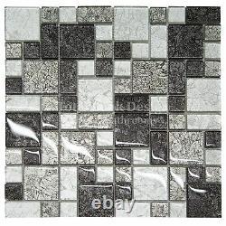 Hong Kong Black & Silver Squares Mosaic Tiles Sheet For Walls Floors Bathrooms