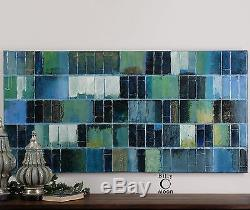 Huge 60 Rich Painted Canvas Tuscan Glass Tile Look Painting Wall Art Modern