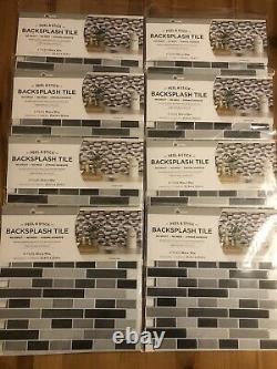 InHome 8 Pack Of 4 Smoked Glass Peel BlackSplash Tile. Peel & Stick NH2362