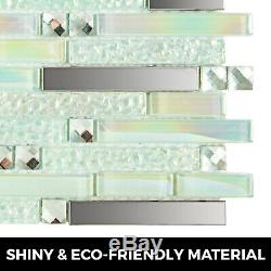 Interlocking Backsplash Glass Tile 12 Sq Feet Iridescent Kitchen Bath Wall Deco