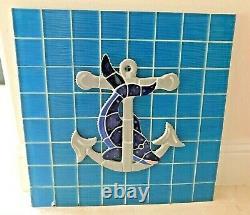 Italian Ceramic Dolphin & Anchor Nautical Wall Hanging Mosaic Art Sea Glass Tile