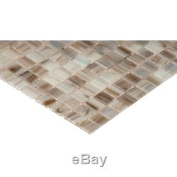 Ivory Iridescent 12 In. X 12 In. X 4 Mm Glass Mesh-Mounted Mosaic Tile 20 Sq. F