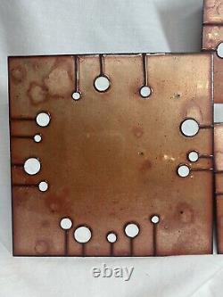 Jenn Bell Signed Glass on Copper Enamel Tiles Wall Art Modern Geometric