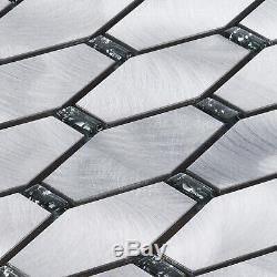 Jewelry Glass Inserted Hexagon Metallic Mosaic TIle Kitchen Wall Backsplash