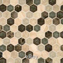 Kensington Glass-Stone Mosaic Wall Tile Hexagon-MSI-1Box=9.5 Sqft