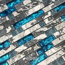Kitchen Mosaic Backsplash Tile Gary Stone Mosaic Glass Blue Tiles Marble(11PCS)