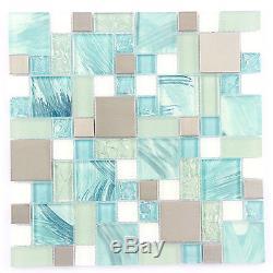 Kitchen Mosaic Blue Glass Tile White Printed Wall Tiles BacksplashPack of 11PCS