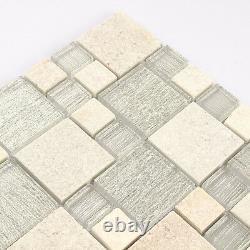 Kitchen Mosaic Tile White Stone Mosaic Glass Backsplash Bathroom Tiles (11PCS)