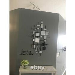 Large Mirrored Tiles Abstract Wall Art Metal Lattice Modern Decor Home Sculpture
