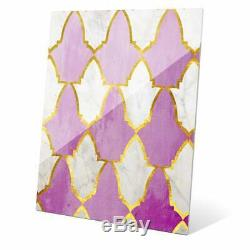 Lavender and Marble Tiles' Wall Graphic on Glass Multi Small