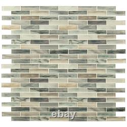 Lazio Brick 11.81 In. X 11.81 In. X 4Mm Textured Glass Mesh-Mounted Mosaic Tile