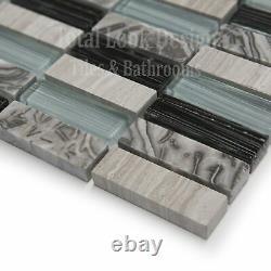 Light Blue Glass & Stone Mosaic Tiles Sheet For Walls Floors Bathrooms Kitchens