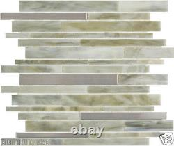 Light Olive Blend Stained Glass & Aluminum Stripes Kitchen Bath Mosaic Tile- 15