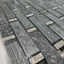 Linea Diamond Glass And Slate Stripes Mosaic Tiles Sheet For Walls Floors