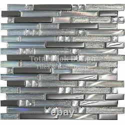 Linea Diamond Glass Mirror Stripes Mosaic Tiles Sheet For Walls Floors Bathrooms