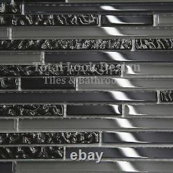 Linea Grey & Black Glass Stripes Mosaic Tiles Walls Floors Bathrooms