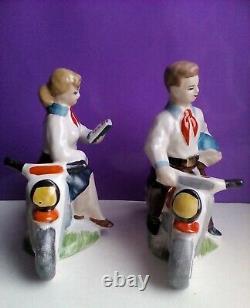 Lot USSR Boy and Girl Pioneers Motorcyclist Russian porcelain figurine 3752u