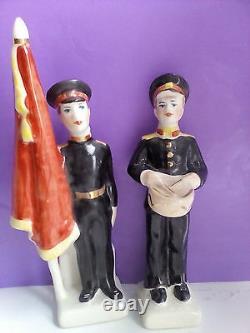 Lot of 2 Soviet boy military Cadets Suvorovtci Russian porcelain figurines u