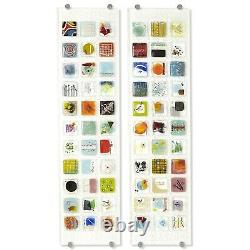 Luxe Art Glass Oversize 45in Fused Wall Panel Set 2 Modern Square Tile Colorful