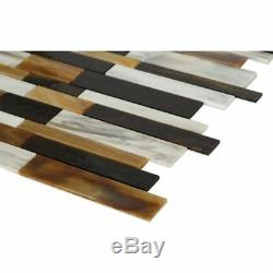 MOSAIC Matchstix Mockingbird Glass Floor and Wall Tile Stained (10 Pcs)