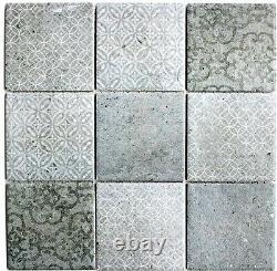 MOSAIC RETRO VINTAGE tile ceramic gray kitchen wall mirror 22-CELLO f 10 sheet
