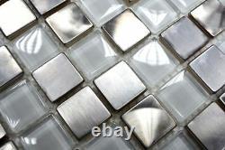 MOSAIC tile aluminum Stainless Steel Glass Crystal White 129-0104 8mm f10 sheet