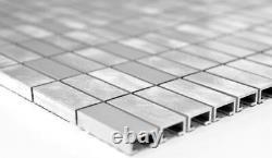 MOSAIC tile aluminum rectangle alu silver brushed polished 49-C201F f 10 sheet