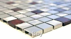 MOSAIC tile aluminum translucent glass silver red wall floor 49-O301F f 10sheet