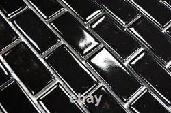 MOSAIC tile ceramic brick black gloss wall bathroom kitchen 24-4BG f 10 sheet