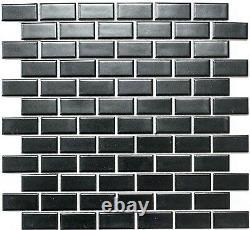 MOSAIC tile ceramic brick black mat kitchen floor wall bath 24-04BM f 10 sheet