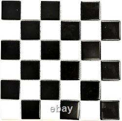 MOSAIC tile ceramic chessboard black white mat floor mirror 16-CD202 f 10 sheet