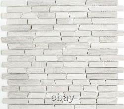 MOSAIC tile marble natural stone brick gray strip 40-MOSBrick2012 f 10 sheet