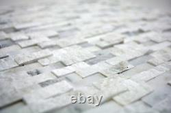 MOSAIC tile marble natural stone brick splitface white 3D 40-3D11 f 10 sheet