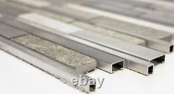 MOSAIC tile quartz natural stone aluminum silver gray beige 49-XSA535 f 10sheet