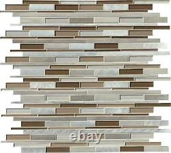 MSI GLSMTIL-MA8MM 12 x 12 Linear Mosaic Wall Tile Smooth MultiColor