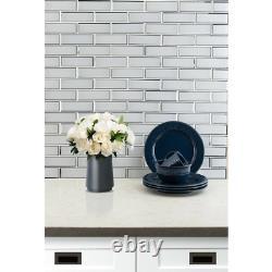 MSI Glass Blend Mesh-Mounted Mosaic Tile (9.6 sq. Ft. /case) Ice Bevel Subway
