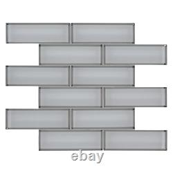 MSI Mosaic Glass Tile 11.73 in. X 11.73 in. Ice Bevel Subway (9.6 sq. Ft. /case)