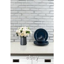 MSI Mosaic Tile 11.73 in. X 11.73 in. X 8 mm Glass Flat Edge Glossy Brick Joint