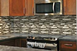 MSI SMOT-6MM 12 x 12 Linear Mosaic Wall Tile Glossy Glass Kings Gate