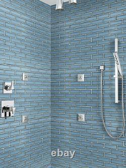 MSI SMOT-GLSST-BE8MM 12 x 12 Brick Mosaic Wall Tile Glossy Haiku Sapphire