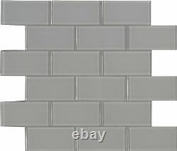 MSI SMOT-GLSST-OYGR8MM 12 x 14 Brick Mosaic Walls Tile Glossy Grey