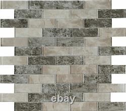 MSI SMOT-GLSST-SAVOY8MM 12 x 12 Brick Mosaic Wall Tile Glossy Savoy