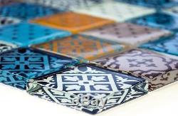 MULTICOLORED MIX Design Mosaic tile GLASS WALL Splashback-78B-0123 10 sheet