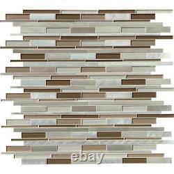 Madison Avenue Interlocking Glass Metal Mosaic Wall Tile-MSI- 1=9.8 SF (1=1 Box)