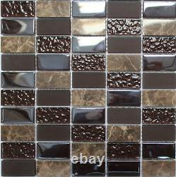 Manhattan Wood Glass & Marble Mosaic Wall Tiles 300mm x 300mm Kitchen Bathroom